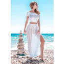 wholesale Shirts & Tops: Set top and skirt DE LUX openwork, white