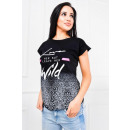 ingrosso T-shirts & Tops: T-Shirt stampa  delle donne nero SELVAGGIO