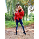 wholesale Coats & Jackets: Glossy down jacket, black, red, uni