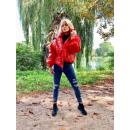 Großhandel Mäntel & Jacken: Glänzende Daunenjacke, schwarz, rot, uni