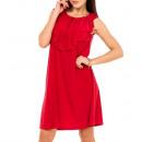 hurtownia Fashion & Moda: Sukienka, falbanka przy dekolcie, czerwona unisize