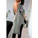 grossiste Vetement et accessoires: Pull, dos plus  long, col en V, gris oversize