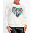 Großhandel Pullover & Sweatshirts: Sweatshirt mit buntem Herzen, ecru, unisize