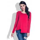 Großhandel Hemden & Blusen: Asymmetrische Bluse, Langarm, rot