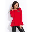 Großhandel Hemden & Blusen: Bluse mit Stickerei, weiten Ärmeln, rot