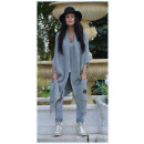 wholesale Fashion & Apparel: Long sweater coat,  bedspread, oversize gray