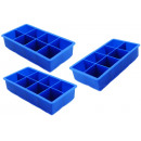 Set of 3 XXXL ice mold for 8 ice cubes 5x5c