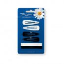 wholesale Hair Accessories: Pyka slides + 4 +  4 white / black 23309