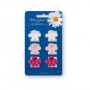 Buckles Haar 6p. rosa Blume