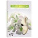 Geurkaarsen, theelichtje 6p. Witte bloemen