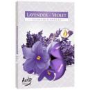 Candele profumate, tealight: lavanda e viola 6 pz.