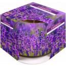 Duftkerze in einem Glas und Folie; Lavendel