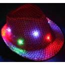 Großhandel Kopfbedeckung: FEDORA Paillettenhut mit LED FARBEN