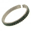 groothandel Sieraden & horloges: Twee rijen strass  armband met stenen, smaragdgroen