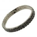 groothandel Sieraden & horloges: Twee rijen strass  armband met stenen, zwart