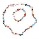 Großhandel Schmuck & Uhren: Strandsteine  Halskette mit Farbe eingestellt