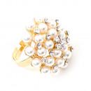 groothandel Ringen:Gold-stenen kralen ring