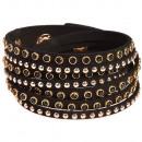grossiste Bijoux & Montres: paillettes  bracelet torsadé, noir