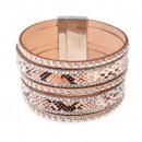 grossiste Bijoux & Montres: Strass motif  serpent bracelet, beige