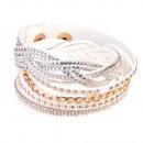 grossiste Bijoux & Montres: Bracelet Strasszfonat, blanc
