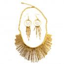 Großhandel Schmuck & Uhren: Metallfasern Halskette Set, Gold