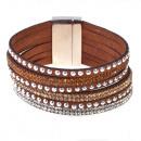 grossiste Bijoux & Montres: Strass sangles  bracelet magnétique, brun