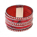 Strass snake pattern bracelet, red