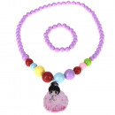 Manga fairy necklace with necklace + bracelet, pur