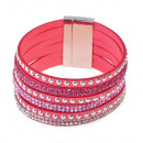grossiste Bijoux & Montres: Strass sangles  bracelets magnétiques, rose
