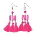 groothandel Sieraden & horloges: Pearl franje oorbellen, roze