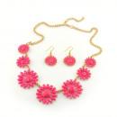 grossiste Bijoux & Montres: ensemble collier marguerite rose
