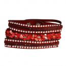 grossiste Bijoux & Montres: Bracelet en pierre polie, rouge