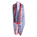 wholesale Swimwear: Blue striped beach top with red border