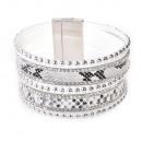 grossiste Bijoux & Montres: Strass motif  serpent bracelet, blanc