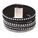 grossiste Bijoux & Montres: Strass sangles  bracelet magnétique, noir