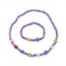 Collier de perles et bracelet enfant-violet clair