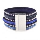 grossiste Bijoux & Montres: Strass sangles  bracelet magnétique, bleu