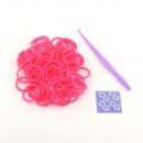 grossiste Bijoux & Montres: Bracelet Maker Kit  gumikarikákkal, rose fluo