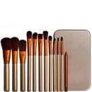 grossiste Maquillage: Kit de 12 pinceaux doré Teint & Yeux