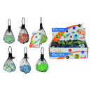 sorted glass  marbles in the net, 6-fold
