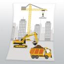 Großhandel Kissen & Decken: Fynn Baustelle -Microfaserflausch Decke