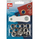 15 eyelets with washers 11mm silver