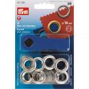 10 oogjes met ringen 14mm zilver