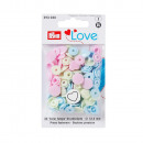 30 colori Snaps cuori 12,4mm rosa, azzurro, perla