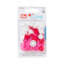 30 couleurs Snaps coeurs 12,4mm rose, rouge, blanc