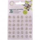Botones metálicos, plateados, Ø 8,5 mm - 36 piezas