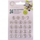 Botones metálicos, plateados, Ø 12 mm - 24 piezas