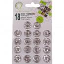 Boutons poussoirs en métal, argent, Ø 15mm - 18 pi
