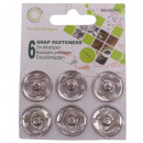 Push buttons metal, silver, Ø 21mm - 6 pieces