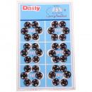 Botones pulsadores de metal, negro, Ø 10 mm - 36 p